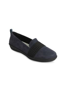 Navy Blue & Black Solid Loafers
