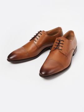 Tan Brown Solid Leather Formal Derbys