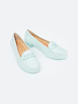 Green Solid Heeled Loafers