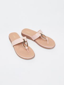 Pink Solid T-Strap Flats