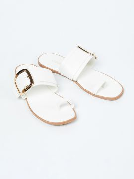 White Solid One Toe Flats