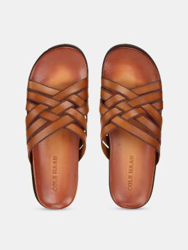 Brown Leather FEATHERCRAFT SLIDE SANDALS