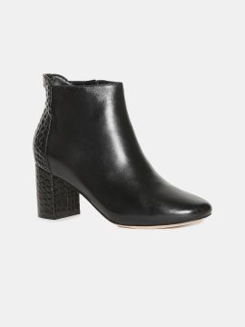 Black Solid Leather Block Heeled Boots