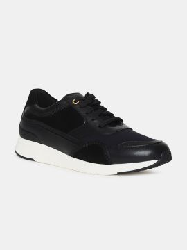 Black Solid Leather GrandPro Sneakers