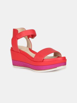 Red Solid Leather Wedges