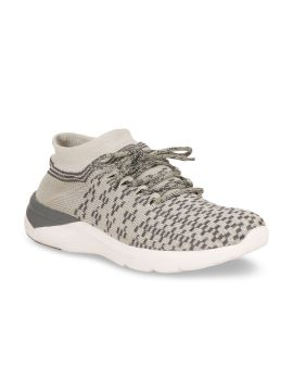 Grey Mesh Mid-Top Running Shoes