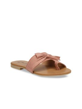 Pink Solid Synthetic Suede One Toe Flats