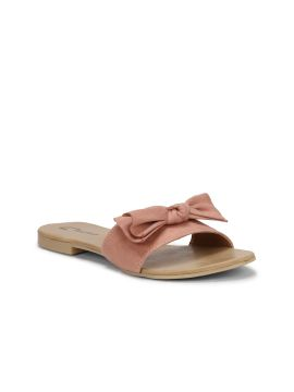 Pink Solid Synthetic Suede Open Toe Flats