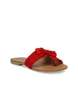 Red Solid Synthetic Suede Open Toe Flats