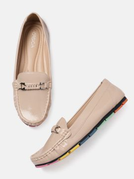 Beige Solid Loafers