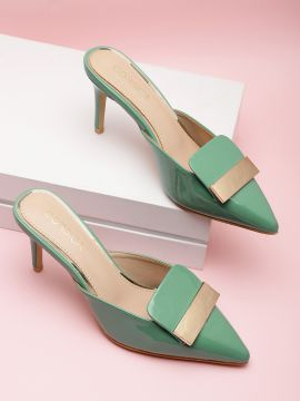 Green Solid Mules