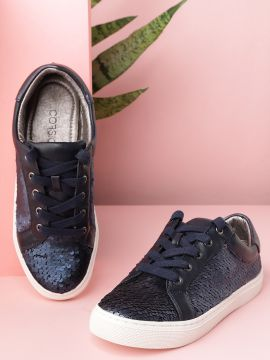 Navy Blue Flip Sequinned Sneakers