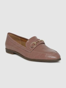 Pink Textured Loafers
