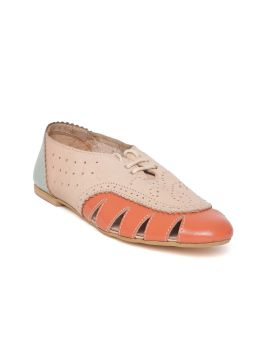 Beige & Orange Leather Colourblocked Perforated Oxfords
