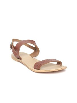 Brown Cut-Work Leather Open Toe Flats