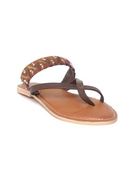 Brown & Pink Woven Design One Toe Flats