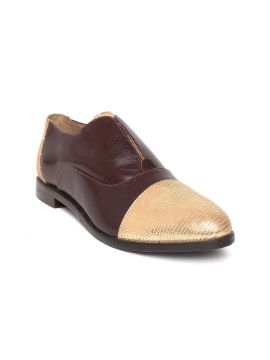 Gold-Toned & Brown Textured Colourblocked Slip-Ons