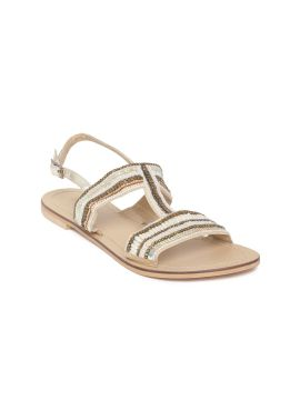 Off-White & Brown Striped Beaded Open Toe Flats