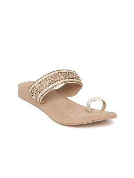 Off-White & Rose Gold-Toned Woven Design One Toe Flats