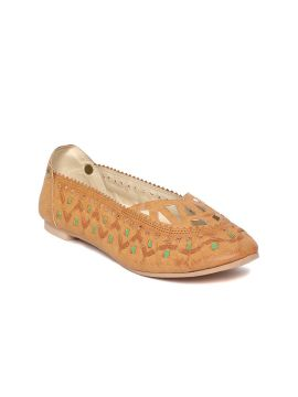 Tan Brown & Green Leather Woven Design Ballerinas with Laser Cuts