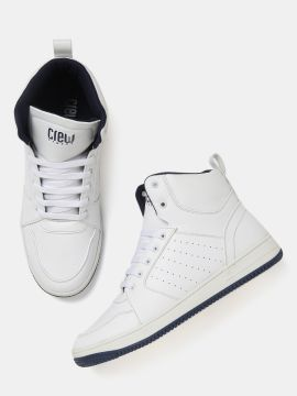 White Perforated Mid-Top Sneakers