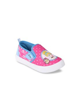 Pink & Blue Printed Canvas High-Top Slip-On Sneakers