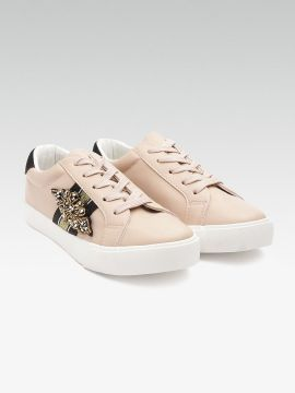 Beige Solid Sneakers with Embellished Detail