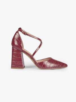 Burgundy Croc-Textured Pumps