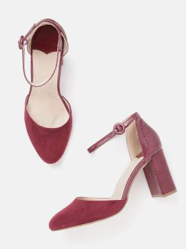 Burgundy Wide Fit Solid Pumps with Croc Textured Detail