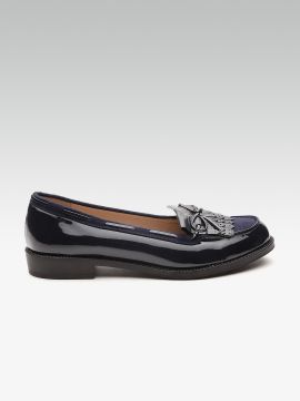 Navy Blue Solid Wide Fit Boat Shoes