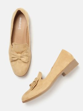 Camel Brown Solid Loafers with Bow Detail