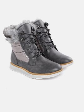 Charcoal Grey Solid Mid-Top Flat Boots