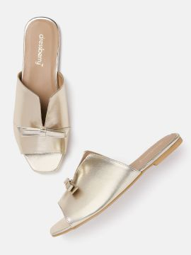 Gold-Toned Solid Mules