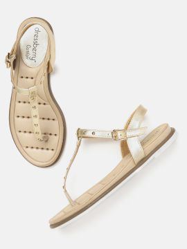 Gold-Toned Studded T-Strap Flats
