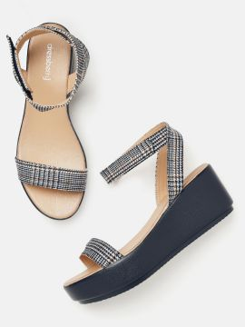 Navy Blue & Off-White Mid-Top Houndstooth Pattern Wedges