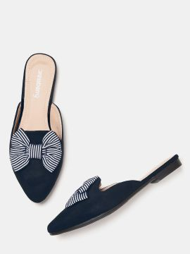 Navy Solid Bow Detail Mules