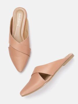 Peach-Coloured Solid Mules