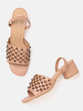Peach-Coloured Studded Block Heels with Cut-Work Detail