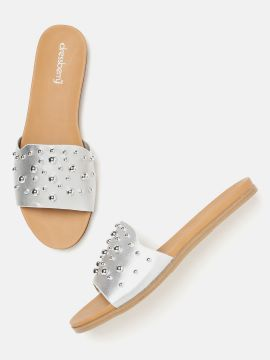 Silver-Toned Embellished Open Toe Flats