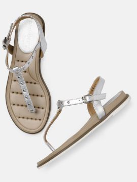 Silver-Toned Embellished T-Strap Flats