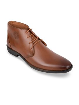 Tan Brown Solid Synthetic Mid-Top Derbys