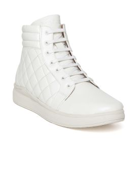 White Quilted Mid-Top Sneakers