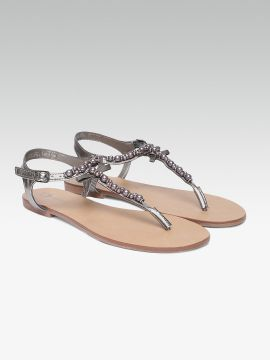 Gunmetal-Toned Embellished Synthetic T-Strap Flats