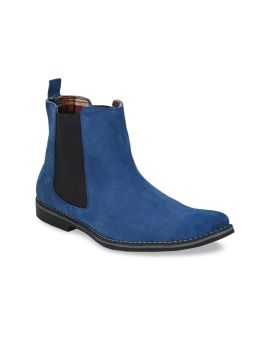 Blue Solid Genuine Leather Mid-Top Slip-On Sneakers