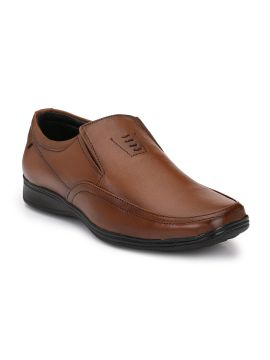 Brown Formal Leather Slip-Ons