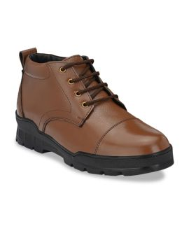 Brown Solid Light Weight Genuine Leather Formal Boots