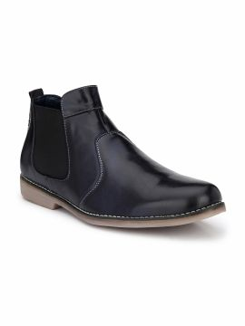 Navy Blue Solid Mid-Top Flat Boots