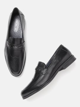 Black Solid Leather Semi-Formal Slip-On Shoes