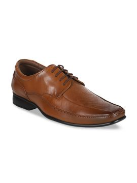 Tan Brown Textured Leather Formal Derbys