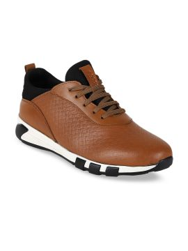 Tan Brown Textured Leather Mid-Top Leather Sneakers